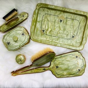 Vintage 1930's Bakelite celluloid vanity set green